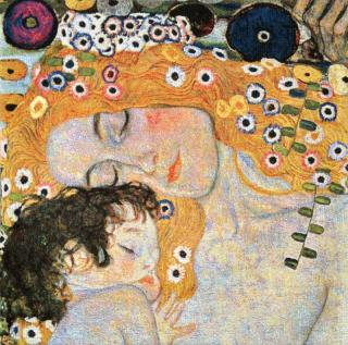 Gustav Klimt - Mother and Child mini 47 x 47  (do rámu)